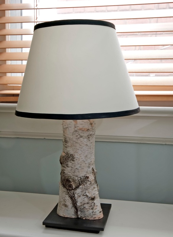 Birch log lamp